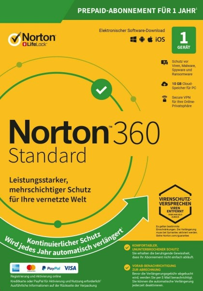 Symantec Norton 360 Standard, 10 GB Cloud-Backup, 1 User 1 Gerät, 12 MO Jahreslizenz