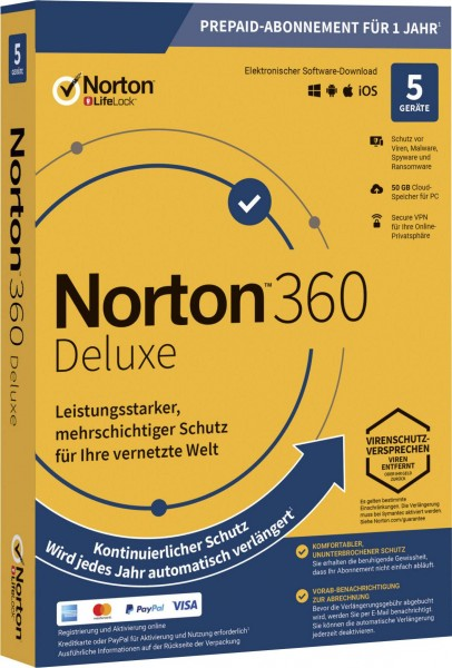 Symantec Norton 360 Deluxe, 50 GB Cloud-Backup, 1 User 5 Geräte, 12 MO Jahreslizenz