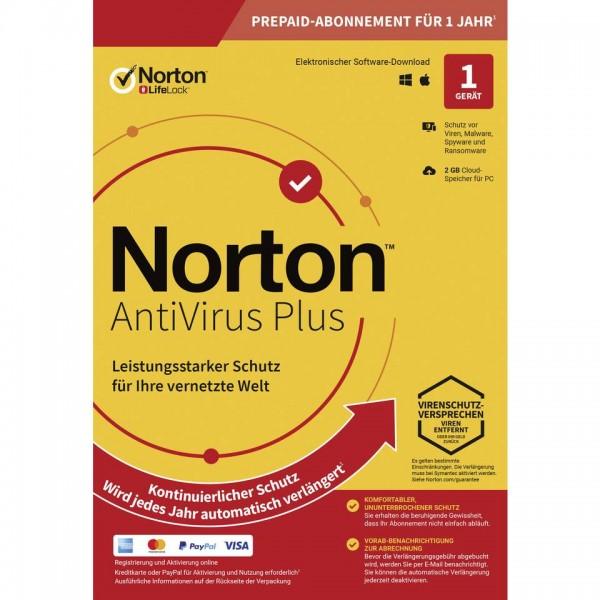 Symantec Norton Antivirus Plus, 2 GB Cloud-Backup, 1 User 1 Gerät, 12 MO Jahreslizenz