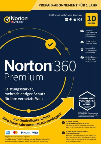 Symantec Norton 360 Premium, 75 GB Cloud-Backup, 1 User 10 Geräte, 12 MO Jahreslizenz